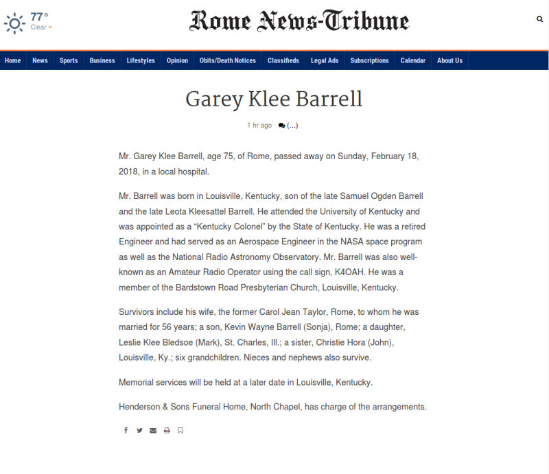 Garey-Klee-Barrell's-Obituary